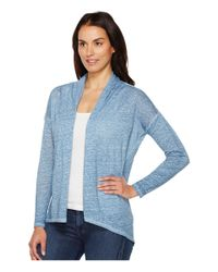 Two By Vince Camuto - Blue Long Sleeve Pigment Dye Drape Front Cardigan - Lyst