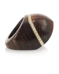 Finds | Brown + Catherine Prevost 18-Karat Gold, Cocobolo Wood And Diamond Ring | Lyst