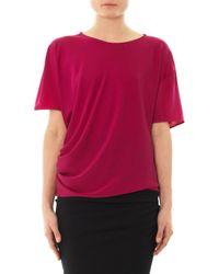 Lanvin - Pink Short-sleeved Stretch-silk Top - Lyst