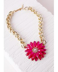Missguided - Statement Floral Necklace Pink - Lyst