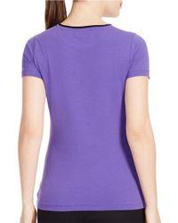 Lauren by Ralph Lauren | Purple Stretch-jersey Logo Tee | Lyst