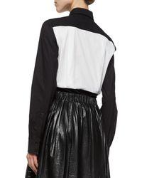 Proenza Schouler - Black Bicolor Poplin Button Blouse - Lyst