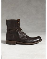 John Varvatos Six O Six Leather Combat Boots In Brown For