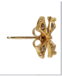 Arman Sarkisyan - Metallic Gold Tiny Cross Green Diamond Earrings - Lyst