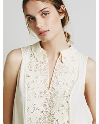 Free People | Natural Womens Lace Inset Collared Tank | Lyst