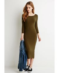 Forever 21 | Green Classic Midi Dress | Lyst