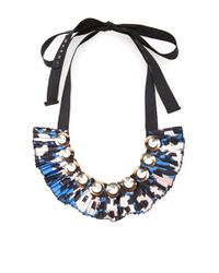 Marni | Blue Embellished Silktwill Necklace | Lyst