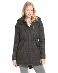 Vince Camuto   Black Detachable Hood Quilted Anorak   Lyst