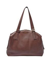 Fossil | Brown 'Preston' Leather Satchel | Lyst