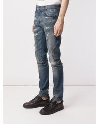 Faith Connexion - Blue Distressed Slim Jeans for Men - Lyst