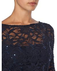 JS Collections - Blue Long Sleeve Dress With Sequin Lace - Lyst