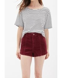 Forever 21 - Purple High-waisted Corduroy Shorts - Lyst