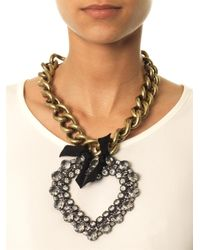 Lanvin - Metallic Mira Large Heart Necklace - Lyst