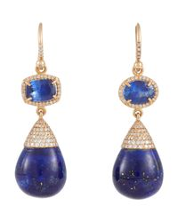 Irene Neuwirth | Blue Mixed-gemstone Double-drop Earrings | Lyst