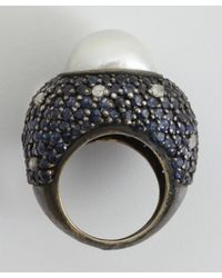 Amrapali | Metallic Colored Stone Collection Diamond Sapphire  Pearl Cocktail Ring | Lyst