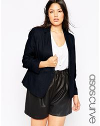 Asos Curve | Blue Linen Tailored Blazer | Lyst