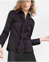 Zara   Black Frilly Blouse   Lyst