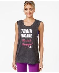 Betsey Johnson | Black Heathered Graphic Train Insane Tank Top | Lyst