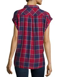 Rails - Red Britt Cap-sleeve Woven Plaid Shirt - Lyst