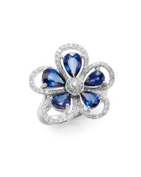 Effy | Blue Final Call Sapphire, Diamond & 14k White Gold Flower Ring | Lyst