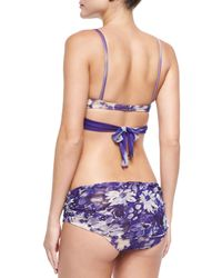 Jean Paul Gaultier - Purple Gathered Floral-Print Underwire Bikini - Lyst