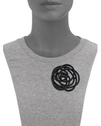 Oscar de la Renta - Black Wire Rose Brooch - Lyst