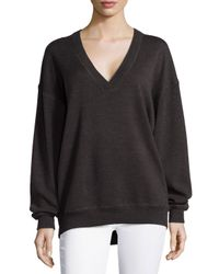 Jason Wu - Brown V-neck Merino Wool Sweatshirt - Lyst