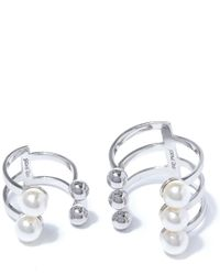 Joomi Lim - Metallic Open Sphere And Faux Pearl Ring Set - Lyst