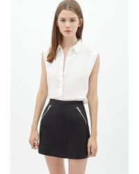 Forever 21 - Black Faux Leather Mini Skirt - Lyst