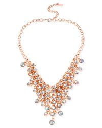 Steve Madden - Pink Rose Gold-Tone Shaky Faceted Bead Bib Necklace - Lyst