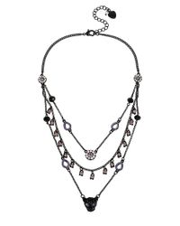 Betsey Johnson | Black Crystal And Charm Layered Necklace | Lyst