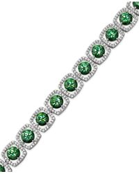 Arabella | Sterling Silver Green And White Swarovski Zirconia Cushion Cut Bracelet (39-7/8 Ct. T.w.) | Lyst