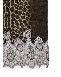 Valentino - Brown Lace Panel Jaguar Print Scarf - Lyst