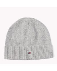 Tommy Hilfiger | Gray Wool Cotton Blend Beanie for Men | Lyst