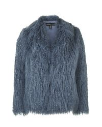 TOPSHOP | Blue Mongolian Faux Fur Coat By Kendall + Kylie At | Lyst