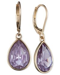 Nine West | Purple Faceted Teardrop Earrings | Lyst