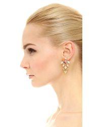 Elizabeth Cole - Pink Asymmetrical Stone Earrings - Lyst