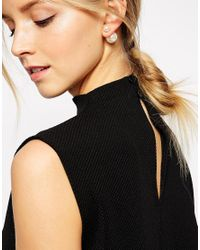 Pieces - Natural Cardeen Front & Back Stud Earrings - Lyst