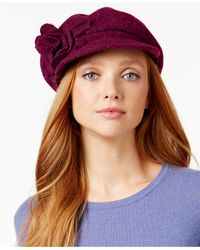 Nine West | Purple Flower Wool Knit Newsboy | Lyst