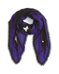 Givenchy | Blue 'rottweiler' Wool and Silk Scarf | Lyst