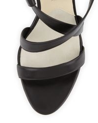Brian Atwood - Wedge Sandal with Ankle Wrap Black - Lyst
