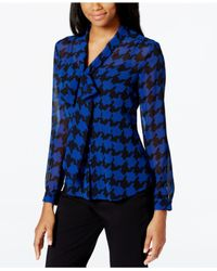 Tahari | Blue Houndstooth-print Tie-front Blouse | Lyst
