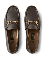 Gucci - Brown Horsebit Grained-Leather Loafers for Men - Lyst