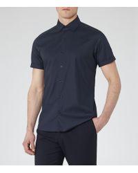 Reiss - Blue Redmayne Short Sleeve Shirt for Men - Lyst