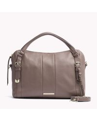 Tommy Hilfiger | Brown Pebbled Leather Satchel | Lyst