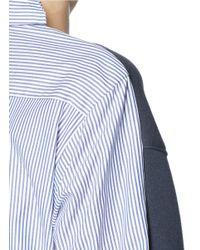 Sacai Luck | Blue Pinstripe Shirt Back Sweater | Lyst