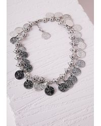 Missguided - Metallic Coin Trim Necklace Silver - Lyst