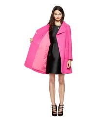 kate spade new york | Pink Jeweled Button Wool Coat | Lyst