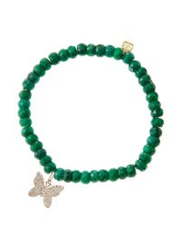 Sydney Evan | Green Emerald Rondelle Beaded Bracelet With 14K Gold/Diamond Small Butterfly Charm (Made To Order) | Lyst