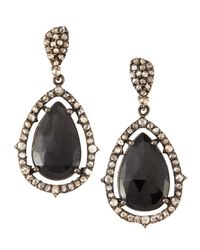 Bavna | Champagne Diamonds Black Spinel Drop Earrings | Lyst
